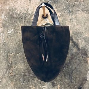 Tumi vintage brown suede leather evening bag